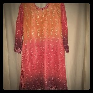 Pink Purple Orange Lace Sequin Long Sleeve Kurti